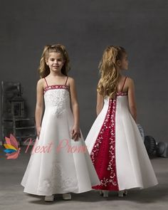 white and red flower girl dresses,flower girl dresses red and white,white satin flower girl dresses $58.00