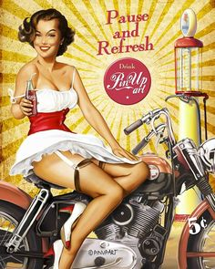 "Pin-Up ""Pause and Refresh"" - hand made illustration in digital art by Mad Mac."