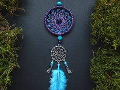 Crystal dream catcher rear view mirror charm car decor hanging