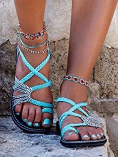 Turquoise Vacation Sandals : Comfortable and stylish walking sandals for travel. Handmade, braided and with ankle straps. Cute and affordable travel shoes for tons of summer adventures. Me Too Shoes, Cute Sandals, Shoes Sandals, Shoes Sneakers, Sandal Heels, Strappy Shoes, Women Sandals, Casual Sneakers, Leather