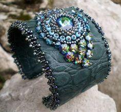 Bead Embroidery Bracelet Cuff  unique leather bracelet by Vicus, $80.00