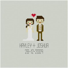CUSTOM Wedding Cross Stitch Pattern. This is perfect for the second anniversary (cotton)