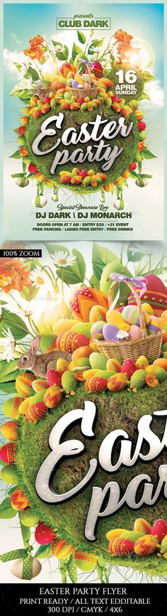 Easter Party Flyer — Photoshop PSD #nature #sexy • Download ➝ https://graphicriver.net/item/easter-party-flyer/19471887?ref=pxcr