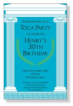 Toga Party - A fun Greek themed invitation printed only on premium fine quality 80 lb. card stock. Available either blank or personalized. I...