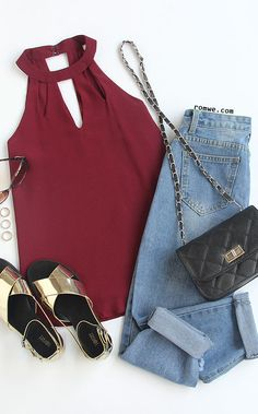 Double Keyhole Halter Neck Top - Burgandy