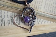 Amethyst Heart Pendant. Valentine's Gift. Wire Wrapped
