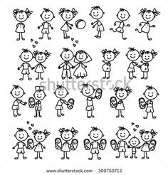 Vector set of happy family. Doodle illustration. Stick figure family. - stock vector More