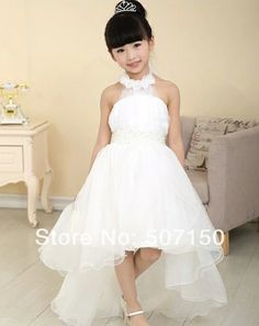 2014 High Quality Bridal Flower Girl Dress party evening Children's white long trailing dress princess 2-10age Free shipping