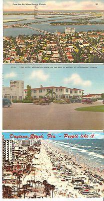 LOT OF 3 Vintage Postmarked Postcards FLORIDA VACATION 1940 era
