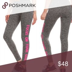 """Focus on your goal active leggings Active performance wear leggings with """"focus on your goal."""" Nylon performance fabric with 4 way stretch meets a new waistband that slims and stays in place for total comfort. Perfect for exercising or lounging. Body-Wick keeps you cool & dry. 69% nylon, 23% Polyester, 8% spandex. Sizes S-XL - no trades, offer button only, no comments. Pants Leggings"""