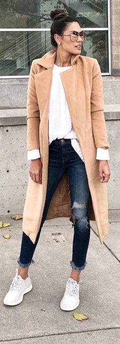#fall #outfits beige long jacket ripped jeans sneakers
