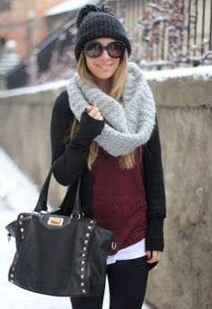 Leggings, undershirt, long sleeve, cardigan, and an over-sized scarf with a beanie. The go to outfit of winter