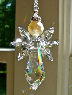 Swarovski Crystal Angel Suncatcher Hanging By HeartstringsByMorgan