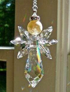 Swarovski Crystal Angel Suncatcher Hanging by HeartstringsByMorgan