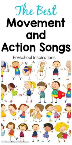 the perfect song for active children? These are some of the best movement and action songs. They're great for circle time songs or as an indoor activity on a bad weather day. These preschool songs and kindergarten songs are sure to be loved for years! Kindergarten Songs, Preschool Songs, Preschool Classroom, Preschool Learning, Movement Songs For Preschool, Kindergarten Circle Time, Transition Songs For Preschool, Brain Breaks For Kindergarten, Preschool Curriculum Free