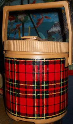 Awesome Thermos Cooler Ice Bucket Oval Plaid Checks