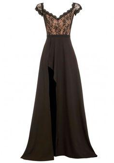 Elle Zeitoune Montana Off-Shoulder Lace Maxi Dress in Black