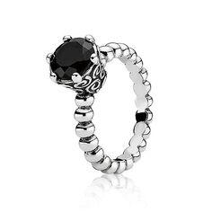 Pandora Silver & Melanite Ring - £50.00