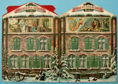 During the 1880s, European craftsmen made elaborate Advent calendars, which families used to tell the Christmas story. Each calendar contains twenty-four windows, and beginning on December 1, one little flap is lifted each day to illustrate the story, which is completed Christmas Eve.