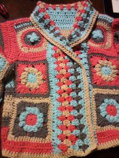 Saco al Crochet..lo hice!!! Hippie Crochet, Crochet Art, Crochet Granny, Crochet For Kids, Crochet Patterns, Crochet Jacket, Crochet Cardigan, Crochet Fashion, Crochet Clothes
