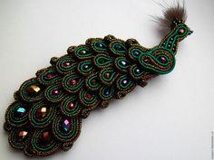 """Купить Брошь """"Павлин"""" - комбинированный, сутажная техника, сутажные украшения, сутажная вышивка, сутажное украшение"""