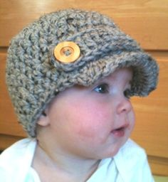 Crocheted Baby boy Newsboy hat