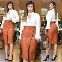 Image may contain: 4 people, people standing Spring Work Outfits, Fall Outfits, Classy Outfits, Chic Outfits, Skirt Outfits, Dress Skirt, Mode Ootd, Red Homecoming Dresses, Future Clothes