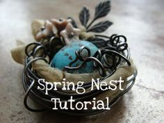 Spring Nest Tutorial by humblebeads - whip these up as decorations for your Easter feast this weekend!  Super easy.