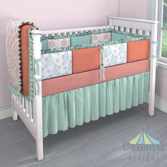 Crib bedding in Solid Light Coral Minky, Light Coral Floral Damask, Solid Mint, Light Coral and Peach Dandelion, Solid Seafoam Aqua Minky, Mint and Silver Gray Dandelion, Solid Light Coral. Created using the Nursery Designer® by Carousel Designs where you mix and match from hundreds of fabrics to create your own unique baby bedding. #carouseldesigns