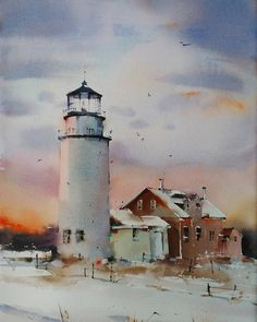 """Atardecer desde el faro"" Original watercolor 55x36 cm #watercolor #aquarelle #art #artwork #painting #cansonpaper #winsorandnewton #blancaalvarezwatercolors #lighthouse #twilightscapes #snow by blancaalvarezwatercolors"