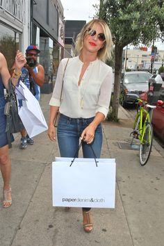 Julianne Hough. Cute look! I'll even take the shopping bag!! lol
