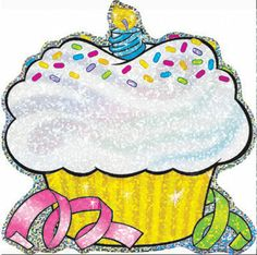 Sparkle Birthday Cupcakes Classic Accents by Trend Enterprises Cupcake Bulletin Boards, Birthday Bulletin Boards, Classroom Birthday, Classroom Door, Sparkles Background, Birthday Charts, Creative Teaching Press, Rainbow Bag, Learning Shapes
