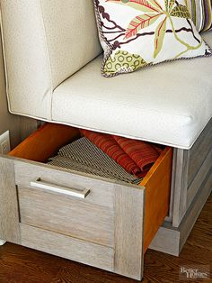 Two tones of wood are better than one when it comes to this banquette bench. Use a different stain or paint color on the inside of the bonus drawer for storage that impresses both opened and closed./