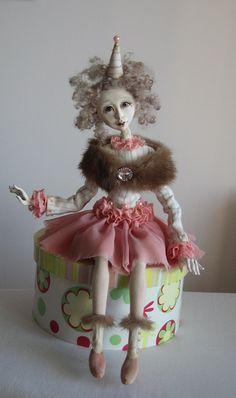 Karin Art doll OOAK doll Paper clay doll Handmade dollAir by JuraD