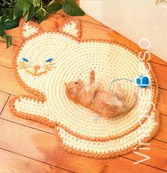 Cat Rug Crochet Pattern Kitty Cat Rug Mat Crochet by VintageBeso