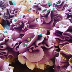 A sneak peak at some custom cupcakes! ;) #feelingsmitten #custom #customorder #cupcakes #cupcakebathbomb #cupcakecottage #glitter #dragees #gold #fun #sprinkles #purple