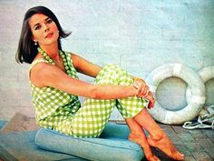 Natalie in a #green gingham/plaid outfit