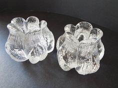 pair of Kosta Boda Sunflower crystal glass votive candleholders.very heavy .very good condition Teal Bird, Kosta Boda, Scallop Shells, Lassi, Glass Votive, Glass Animals, Danish Modern, Selling On Ebay, Rose Buds