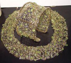 Peridot crochet wire necklace by nefertitijewelry2009