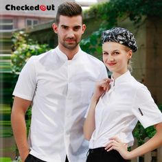Dining restaurant kitchen clothing chef uniforms waiter overalls summer clothes for men and women aprons Scrubs Uniform, Uniform Shirts, Restaurant Uniforms, Summer Outfits Men, Summer Clothes, Costume, Chef Jackets, Jackets For Women, Food Service