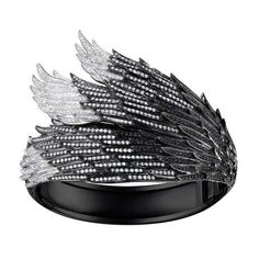 """AS29 """"""""Wing"""""""" Black & White Diamond Cuff Bracelet ($52,500) ❤ liked on Polyvore featuring women's fashion, jewelry, bracelets, accessories, bracelets and gloves, rings, ombre jewelry, kohl jewelry, feather bangle and cuff jewelry"""