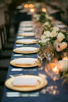 Long Rectangular Table Design. Love this timeless & classic city wedding at San Francisco Ferry Building wedding venue w navy blue & gold details, white floral design & bouquets, custom welcome gifts, planned & designed by Amy Nichols Special Events, a luxury wedding planner in San Francisco, serving California, wine country, Napa, Sonoma, Hawaii, Bali, Mexico & destinations worldwide. California Wine, California Wedding, Northern California, Wedding Table Linens, Wedding Table Settings, Autumn Wedding, Green Wedding, Blue Gold, Navy Blue