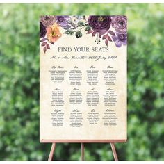 A simply stunning wedding seating plan, using elegant fonts and a plain background to let guests easily find their seat at your wedding breakfast. Elegant Wedding, Floral Wedding, Rustic Wedding, Seating Plan Wedding, Wedding Table, Calligraphy Types, Wedding Breakfast, Table Seating, Table Plans