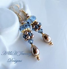 Swarovski Crystal and Pearl Ornate Cluster Earrings In Denim Blue and Bronze by hhjewelrydesigns on Etsy