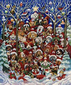 Bill Bell Solid-Faced Canvas Print Wall Art Print entitled Santa Paws, None Wall Art Prints, Fine Art Prints, Poster Prints, Canvas Prints, Art Christmas Presents, Christmas Art, Vintage Christmas, Bell Art, Art Optical