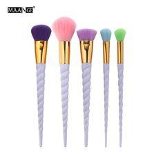 5pcs/set Unicorn Thread Makeup Brushes Set Rainbow Hair Cosmetic Foundation Eye shadow Blusher Powder Unicorn Blending Brush(China (Mainland))