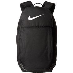 Nike Brasilia Extra Large Backpack (Black/Black/White) Backpack Bags ($55) ❤ liked on Polyvore featuring bags, backpacks, padded bag, nike knapsack, nike backpacks, zip bag and nike
