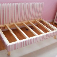 DIY upholstered toddler day bed.