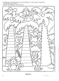 Crafts,Actvities and Worksheets for Preschool,Toddler and Kindergarten.Lots of worksheets and coloring pages. Kindergarten, Tracing Worksheets, Pre Writing, Jungle Animals, Coloring For Kids, Colouring Pages, Fine Motor Skills, Pre School, Preschool Activities