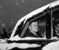 FILE - In this Dec. 1961 file photo, U. President John Kennedy looks out of the window from a snow-covered limousine at Andrews Air Force Base, Md. near Washington after his return from Florida. John Kennedy, West Palm Beach, Puerto Rico, John Junior, John Fitzgerald, American Presidents, American History, Jfk, Royal Families